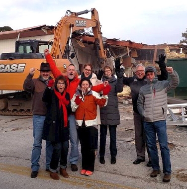 Board Members celebrating the building's demolition