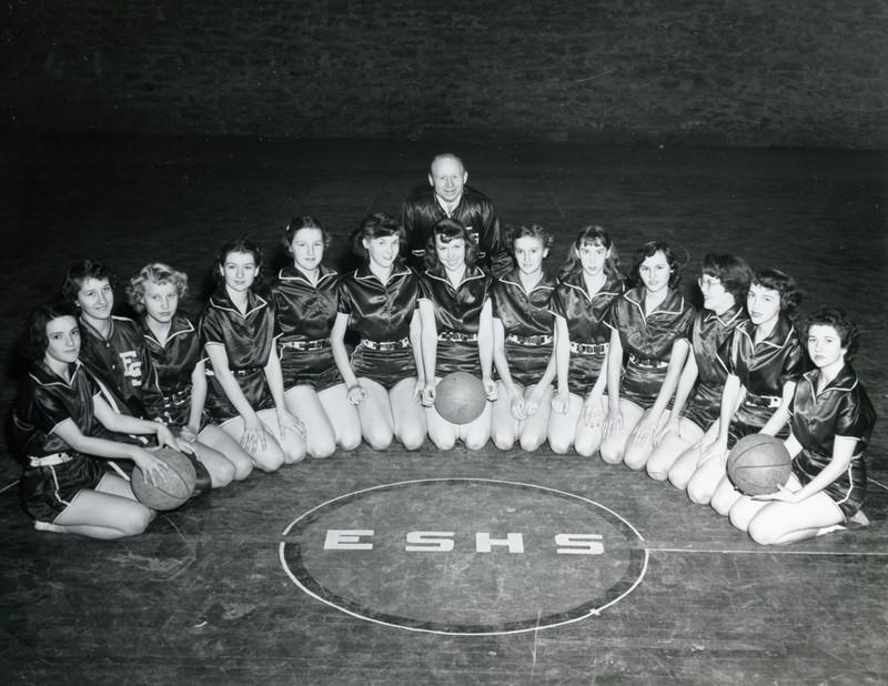 Eureka Springs High School Highlander Girls Basketball Team. January 1954