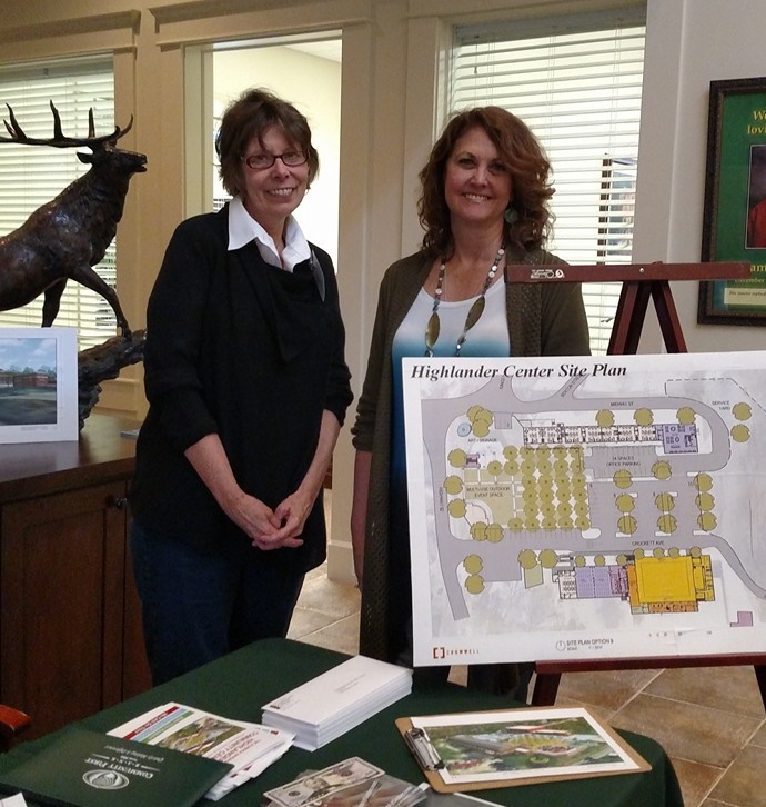 Jean and Diane with site plans