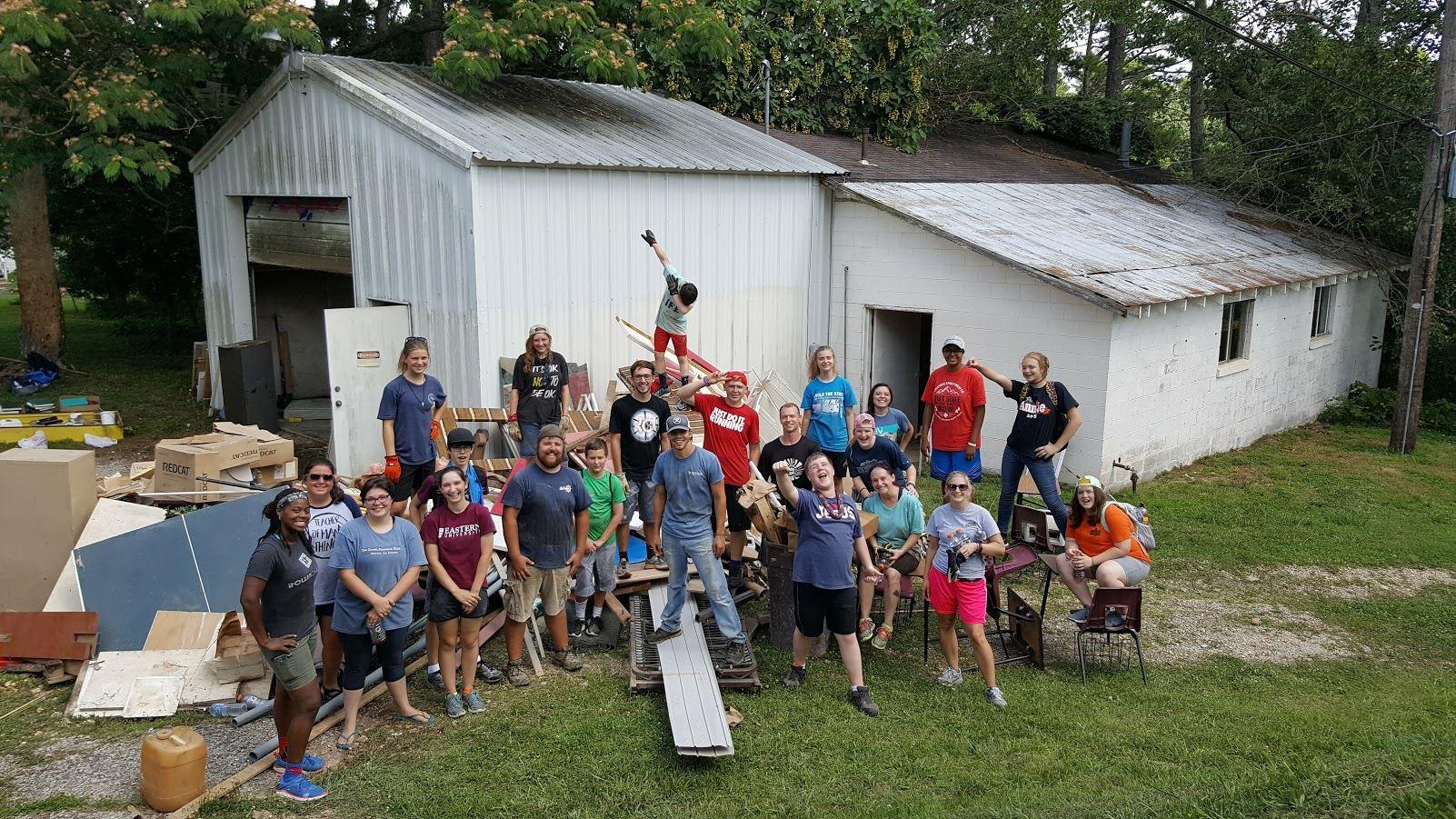 Teen volunteers outdoors